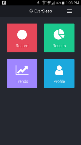 EverSleep App Home Page, Record Sleep, Sleep Data Results, Sleep Trends, Sleep Profie, Sleep App
