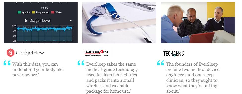 EverSleep Home Sleep Study Press Reviews Thumbnails from GadgetFlow, UrbanWearables, Techaeris