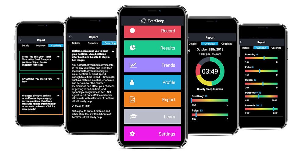 EverSleep Mobile App with Personalized Coaching, Sleep Metrics, Trends and Analytics