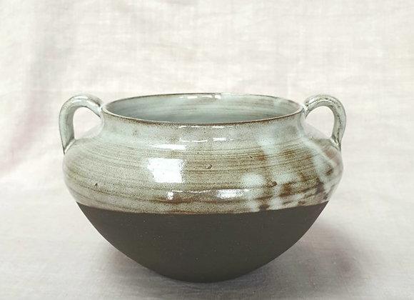 Handmade Handled Black Clay Pot