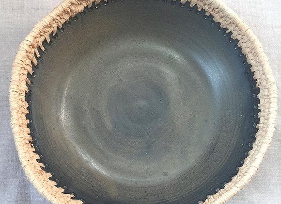 Mixed media black clay and natural raffia bowl