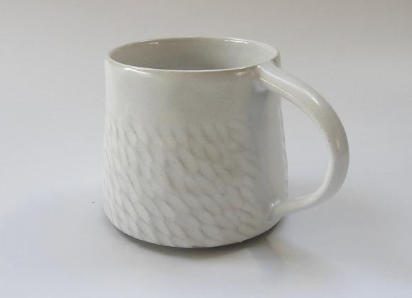 Hand carved white mug