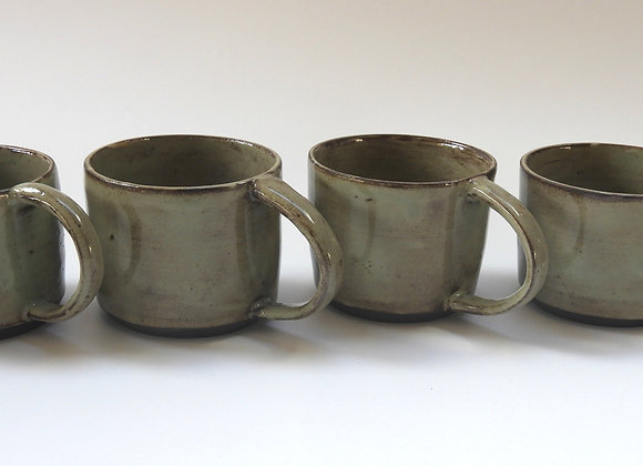 Black clay small coffee cups - Set of 4
