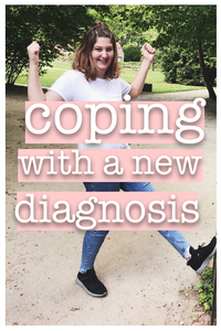 Coping With A New Diagnosis: Kirsten doing a strong pose in a park while wearing her white graphic tee and jeans