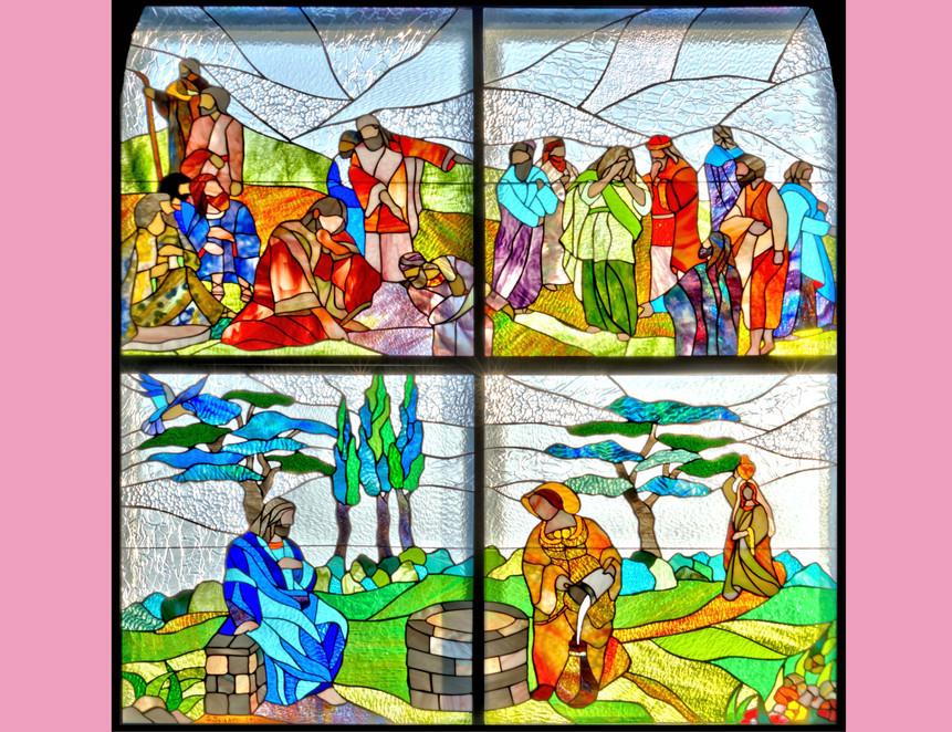 en haut: femme adultère, en bas: la femme au puits
