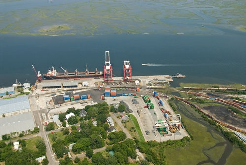 Westerly aerial photo of the port of Fernandina