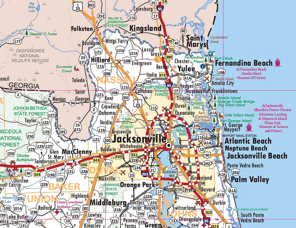 Northeat Florda highway map
