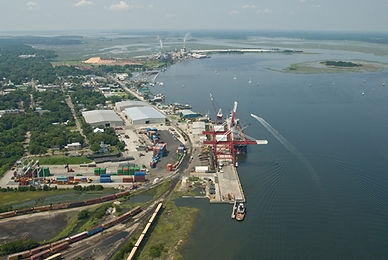 Aerial photograph of th port of Fernandina