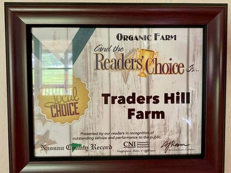 Traders Hill Farm wins 2020 Readers Choice Award