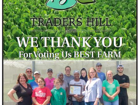 Traders Hill Farm voted #1 Farm