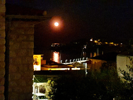 Blood Moon Arising Over the Port of St Jean Cap Ferrat French Riviera Boat Tours Sunset Cruises