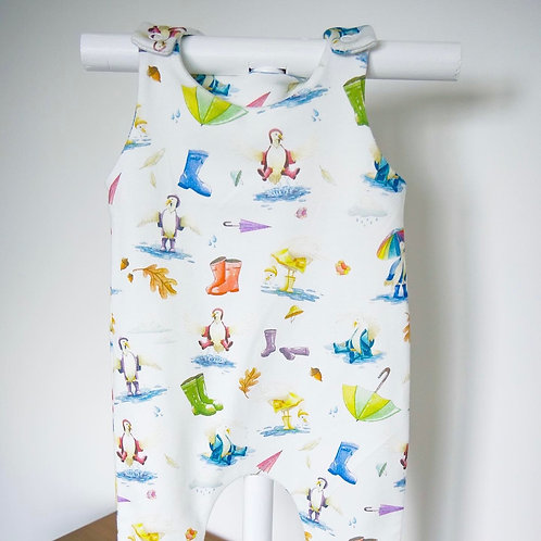 White Ducks and Wellies Romper (no autumn leaves)