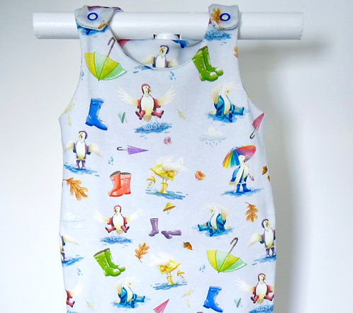 Blue Duck and Wellies Short Romper (no autumn leaves)