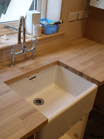 Solid oak worktop change for new belfast