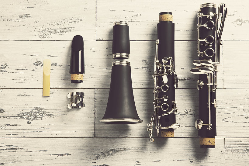 overhead of a disassembled clarinet on w