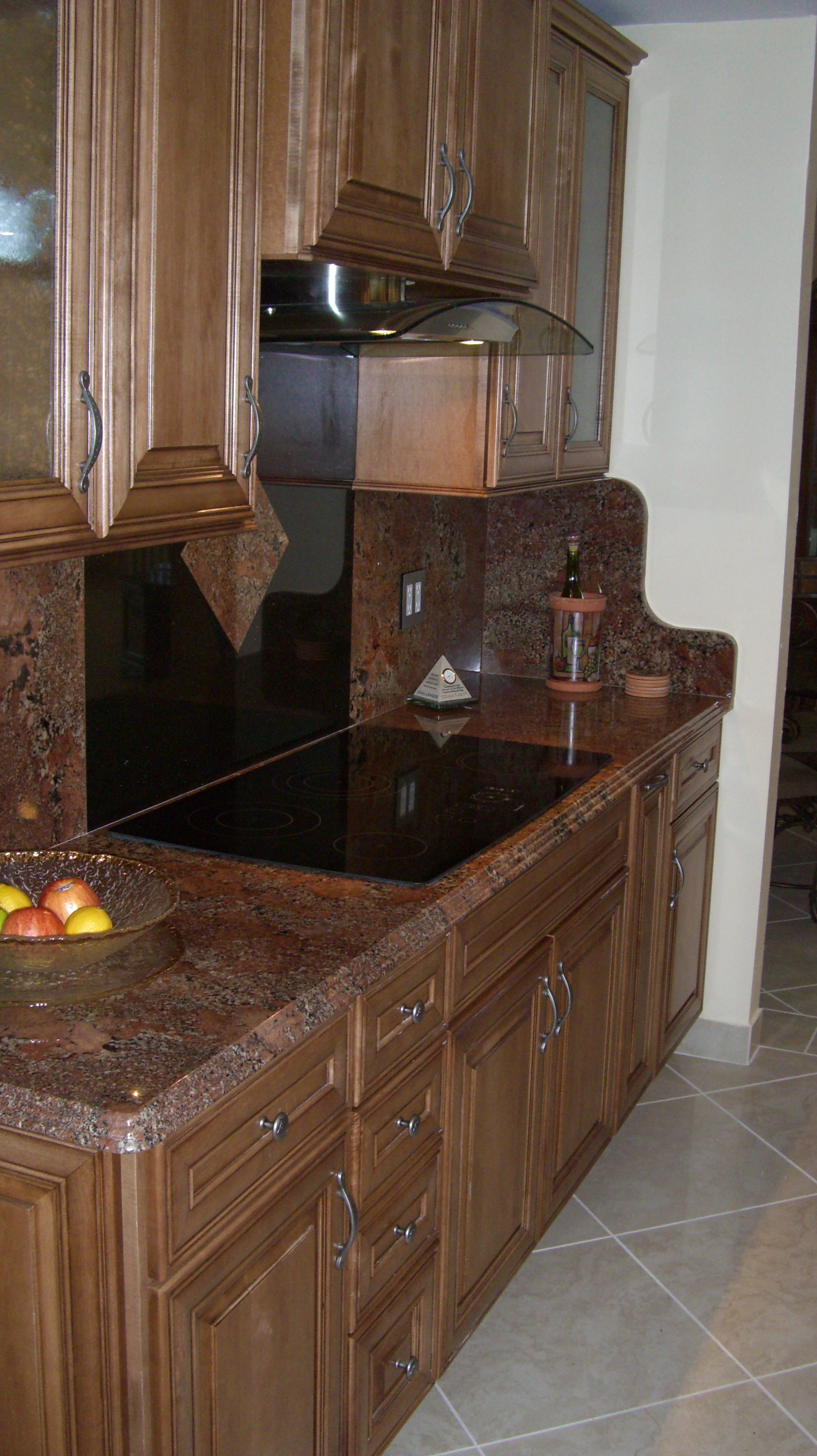 Marble countertop with stove