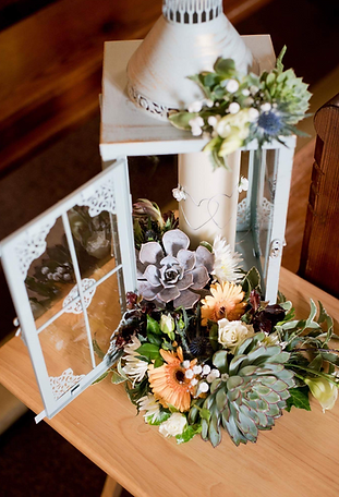Lantern for a wedding with flowers