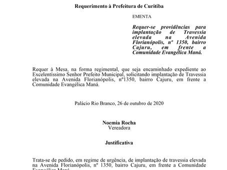 Implantação de Travessia elevada na Avenida Florianópolis, nº 1350