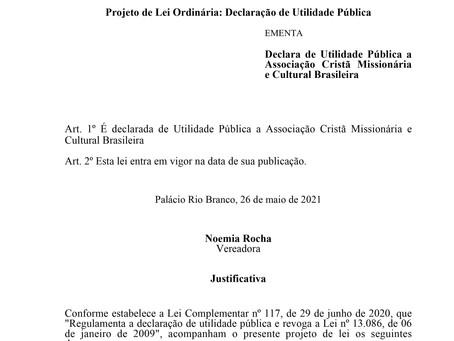 Utilidade Pública a Associação Cristã Missionária e Cultural Brasileira