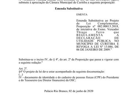 Emenda Substitutiva ao Projeto de Lei Complementar, Proposição nº 002.00013.2018