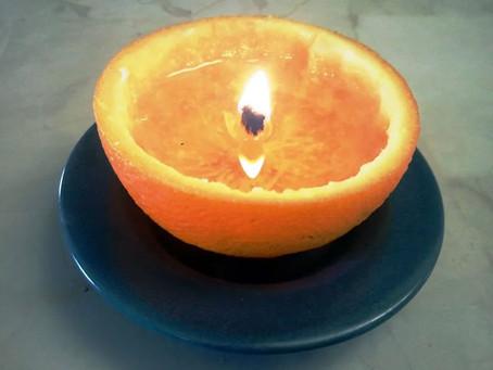 Aprenda a fazer uma vela com casca de laranja