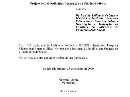 Utilidade Pública o IPEFES - Instituto  Pesquisa Educacional Emerson Silva