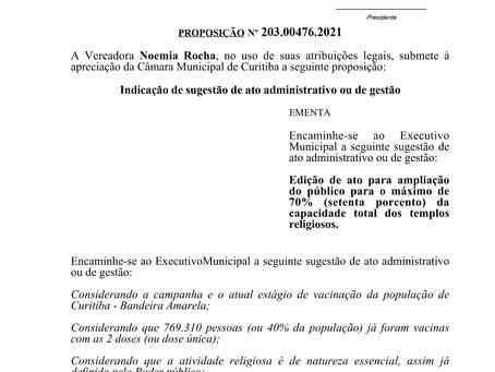 Sugestão aprovada - ampliação para 70% da capacidade de público nos templos religiosos