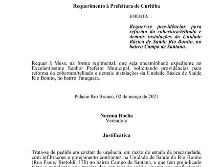 Reforma da cobertura/telhado e demais instalações da Unidade Básica de Saúde Rio Bonito