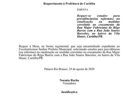 Reformas na sinalização ou medidas correlatas no cruzamento da Rua Major Fabriciano do Rêgo Barros