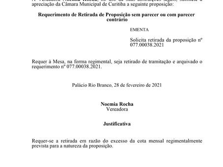 Solicita retirada da proposição nº077.00038.2021
