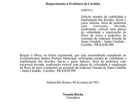 Implantação das devidas, faixas e guias laterais na extenção do endereço Estrada de Santa Cândida