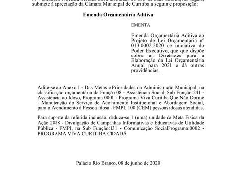 Emenda Orçamentária Aditiva ao Projeto de Lei Orçamentária nº 013.0002.2020