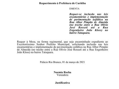Inclusão nas leis orçamentárias e implementação de pavimentação asfáltica- R Albor Pimpão de Almeida