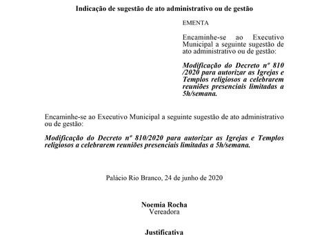 Modificação do Decreto nº 810/2020 para autorizar as Igrejas e Templos religiosos