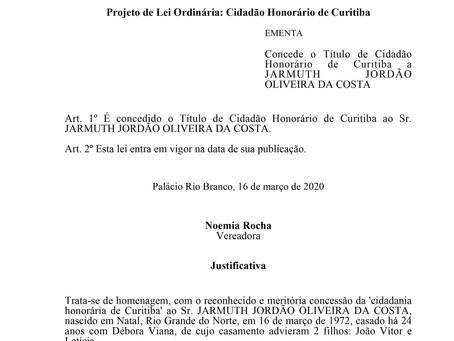 Cidadão Honorário de Curitiba - Jarmuth Jordão Oliveira da Costa.