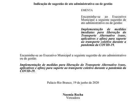 Medidas imediatas para liberação do Transporte Alternativo para suporte ao transporte coletivo