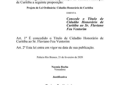 Cidadão Honorário de Curitiba - Sr. Flaviano Feu Ventorim