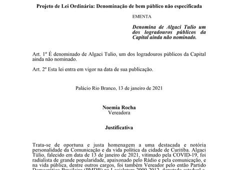 Denomina de Algaci Tulio um dos logradouros públicos