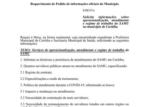 Informações sobre operacionalização, atendimento e regime de trabalho do SAMU