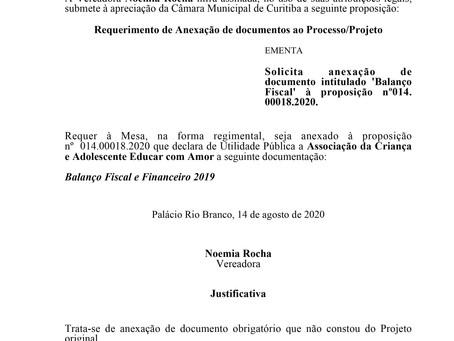 Anexação de documento intitulado 'Balanço Fiscal' à proposição nº014.00018.2020