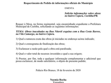Solicita informações sobre obras no bairro Cajuru