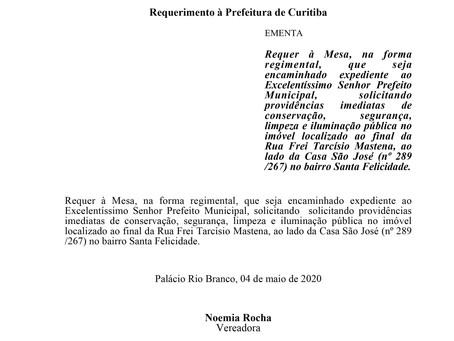 Solicitando providências imediatas no imóvel localizado ao final da Rua Frei Tarcísio Mastena