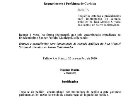 Implantação de camada asfáltica na Rua Manoel Silvério dos Santos