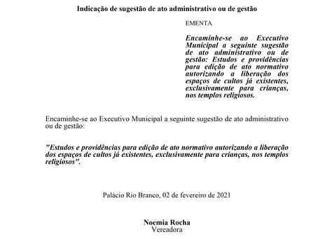 Estudos e providências para edição de ato normativo autorizando a liberação dos espaços de cultos