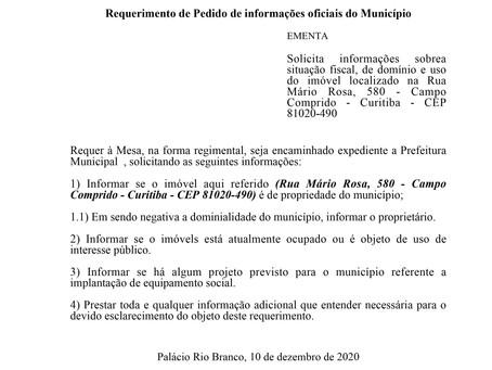 Situação fiscal, de domínio e uso do imóvel localizado na Rua Mário Rosa