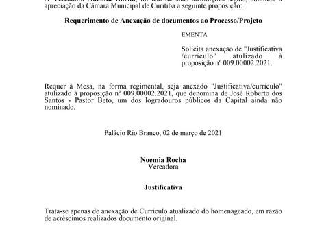 """Solicita anexação de """"Justificativa/currículo"""" atualizado à proposição nº 009.00002.2021."""