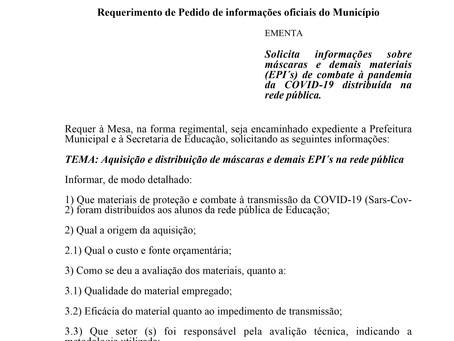Informações sobre máscaras e demais materiais (EPI´s) distribuída na rede pública.