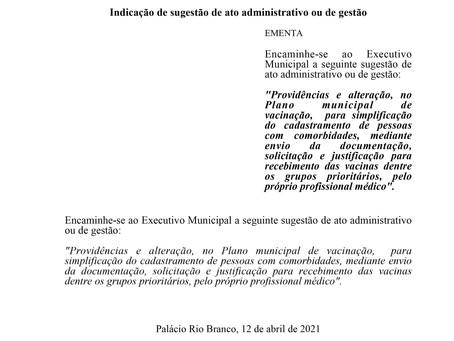 Providências e alteração, no Plano municipal de vacinação