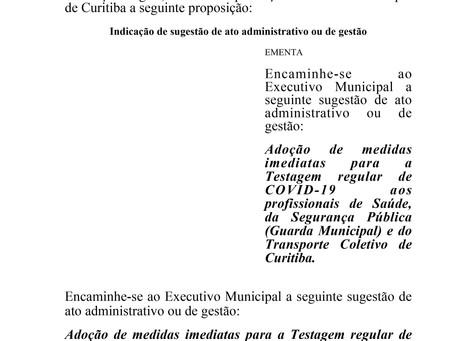 Testagem regular de COVID-19 aos profissionais de Saúde, da Segurança Pública e Transporte Coletivo