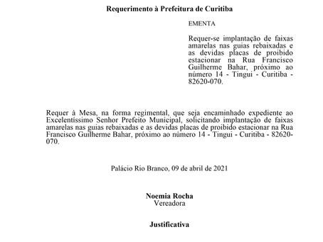 Implantação de faixas e as devidas placas de proibido estacionar na R. Francisco Guilherme Bahar